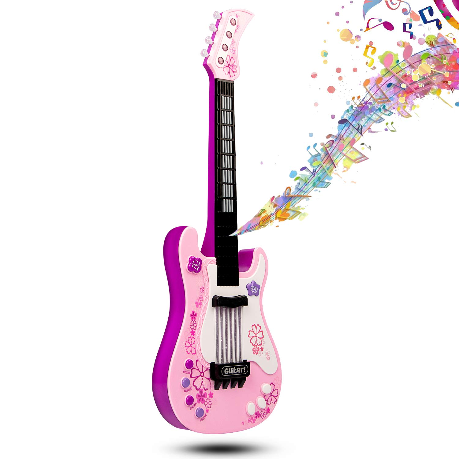 JINRUCHE Toy Guitar for Kids, Electric Guitar with Vibrant Sounds No String Musical Instruments Educational Toy for Children Great for Boys Girls (Pink)