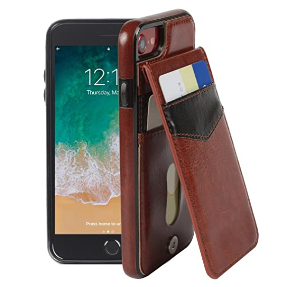 watch ed551 4a9b9 Basecent iPhone 8 / iPhone 7 Wallet Case for Men, Silicone iPhone 7/8 Case  Wallet with Magnetic Card Holder Stand, Protective Cell Phone Case with ...