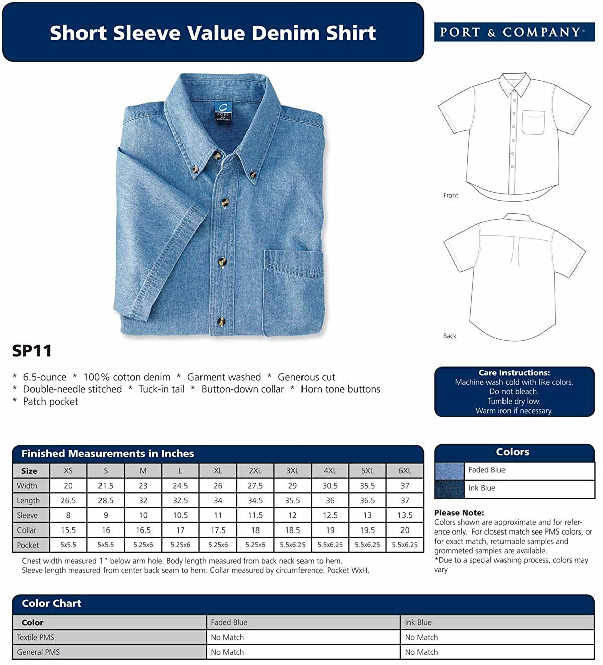 Port /& Company Mens Big Short Sleeve Value Denim Shirt Faded Blue