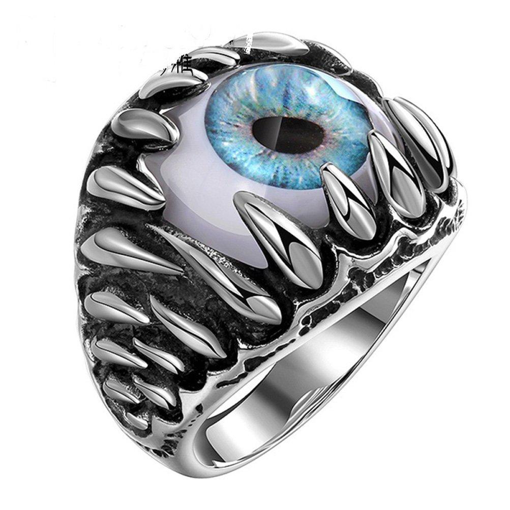 SunIfSnow Men's Super Cool Talons and Fangs Blue Devil's Eyes Titanium Steel Rings 10