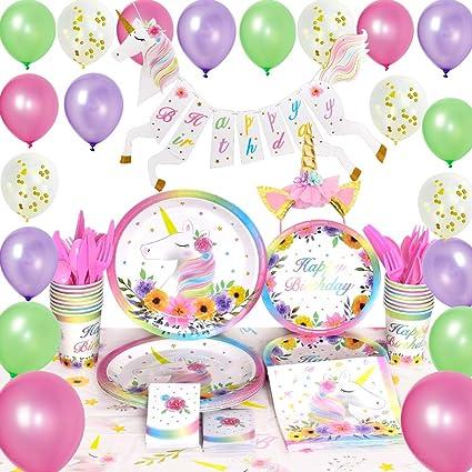 1380c293dfd6 WERNNSAI Unicornio Suministros para la Fiesta Conjunto - Cumpleaños  Decoración de Fiesta para Chicas Mágico Unicornio Bandera Globos Manteles  ...