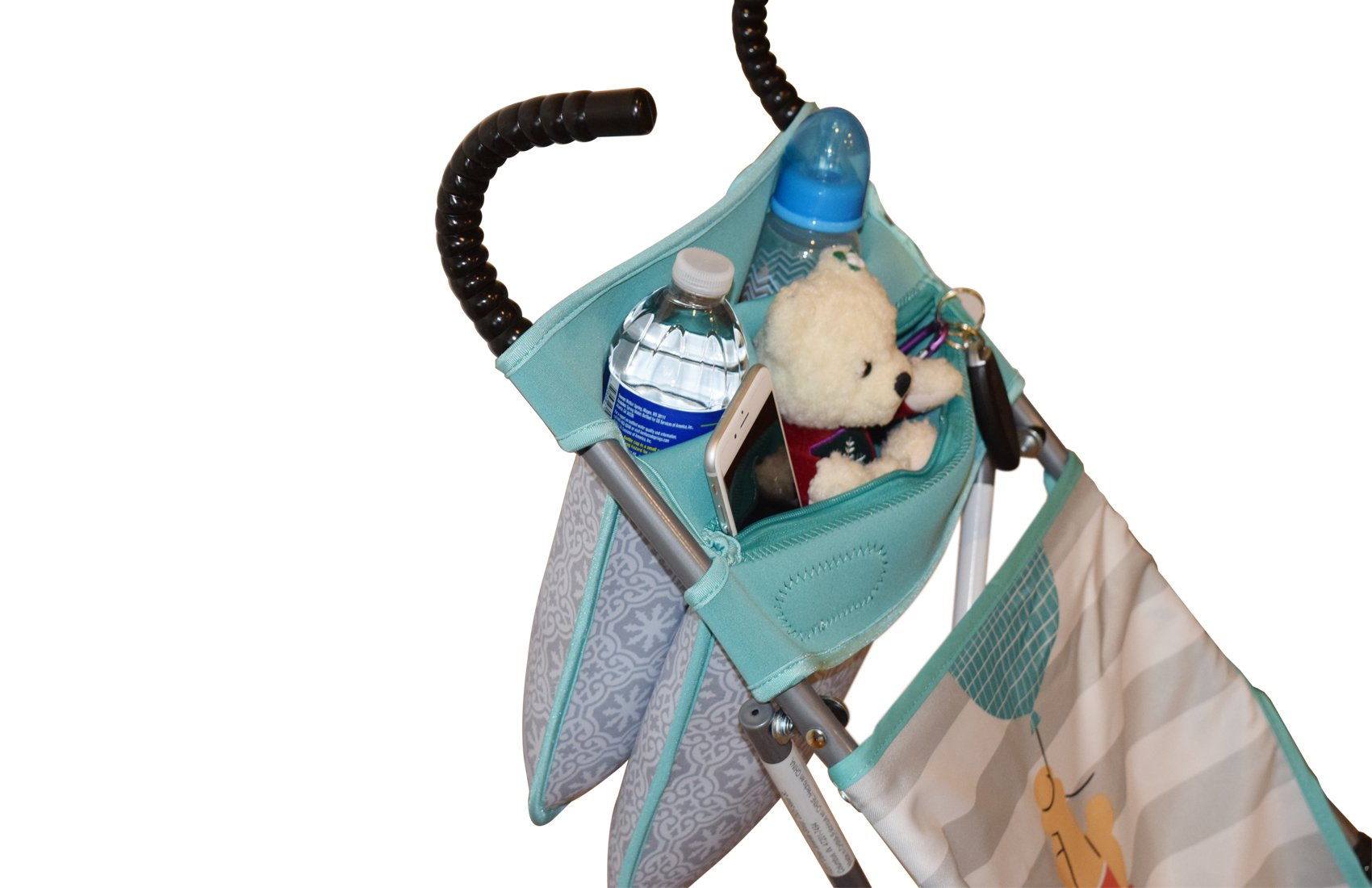 Baby Stroller Caddy Storage Organizer - Cup, Bottle and Diaper Holder for Stroller Accessories Bag - Universal Umbrella Stroller Organizer with Cup Holders - Perfect Baby Shower Gift (Turquoise) by Sunshine Nooks (Image #6)