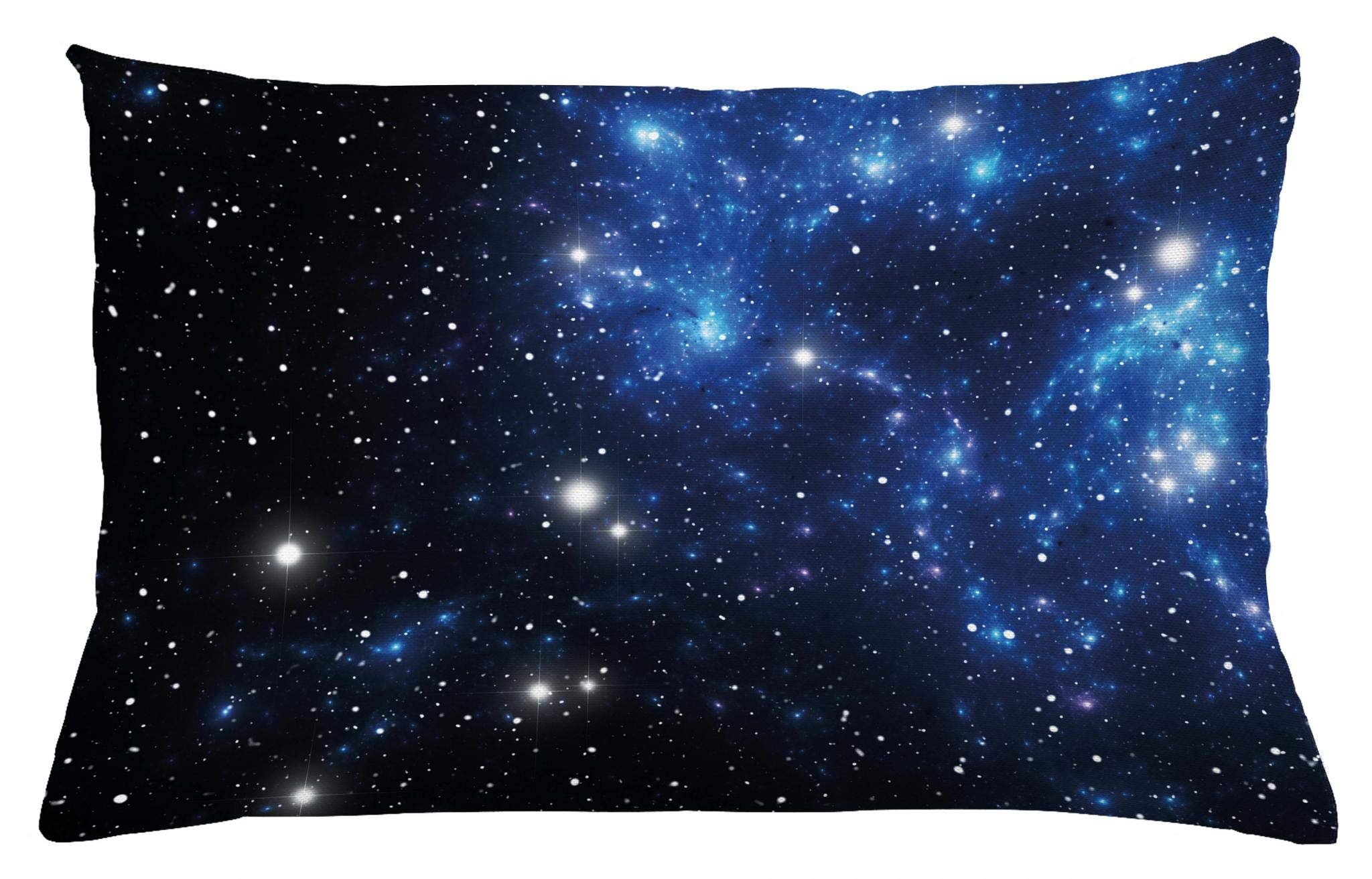 Ambesonne Constellation Throw Pillow Cushion Cover, Outer Space Star Nebula Astral Cluster Astronomy Theme Galaxy Mystery, Decorative Accent Pillow Case, 26 W X 16 L Inches, Blue Black White
