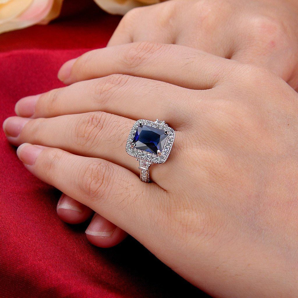 EleQueen Womens Silver-Tone Full Cubic Zirconia Cushion Shape Party Cocktail Ring Sapphire Color