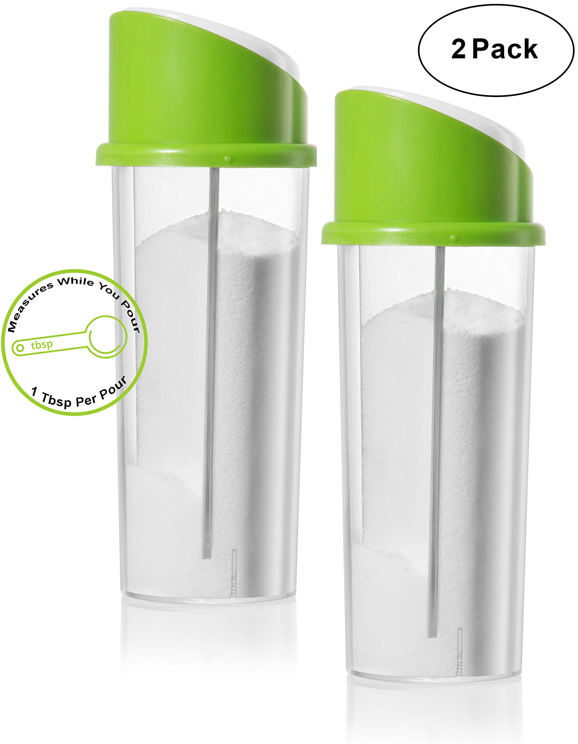 Auto Measure 2 Pack Sugar Dispenser Pourer Shaker With Controlled 1 Tablespoon Portion Control Lid Clear Glass Canister With Automatic Measure Top Modern Green Spout Perfect Gift By Perlli