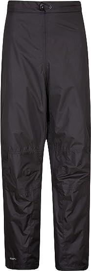 Mountain Warehouse Spray Mens Waterproof Overtrousers Half Zip Side Legs Ripstop Rain Pants
