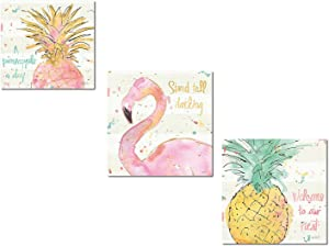 """Tropical Hot Pink, Green and Gold Watercolor Flamingo and Pineapple """"Stand Tall Darling,"""" """"Welcome To Our Nest"""" and """"A Pineapple a Day"""" Set by Anne Tavoletti; Three 12x12in Paper Poster Prints"""