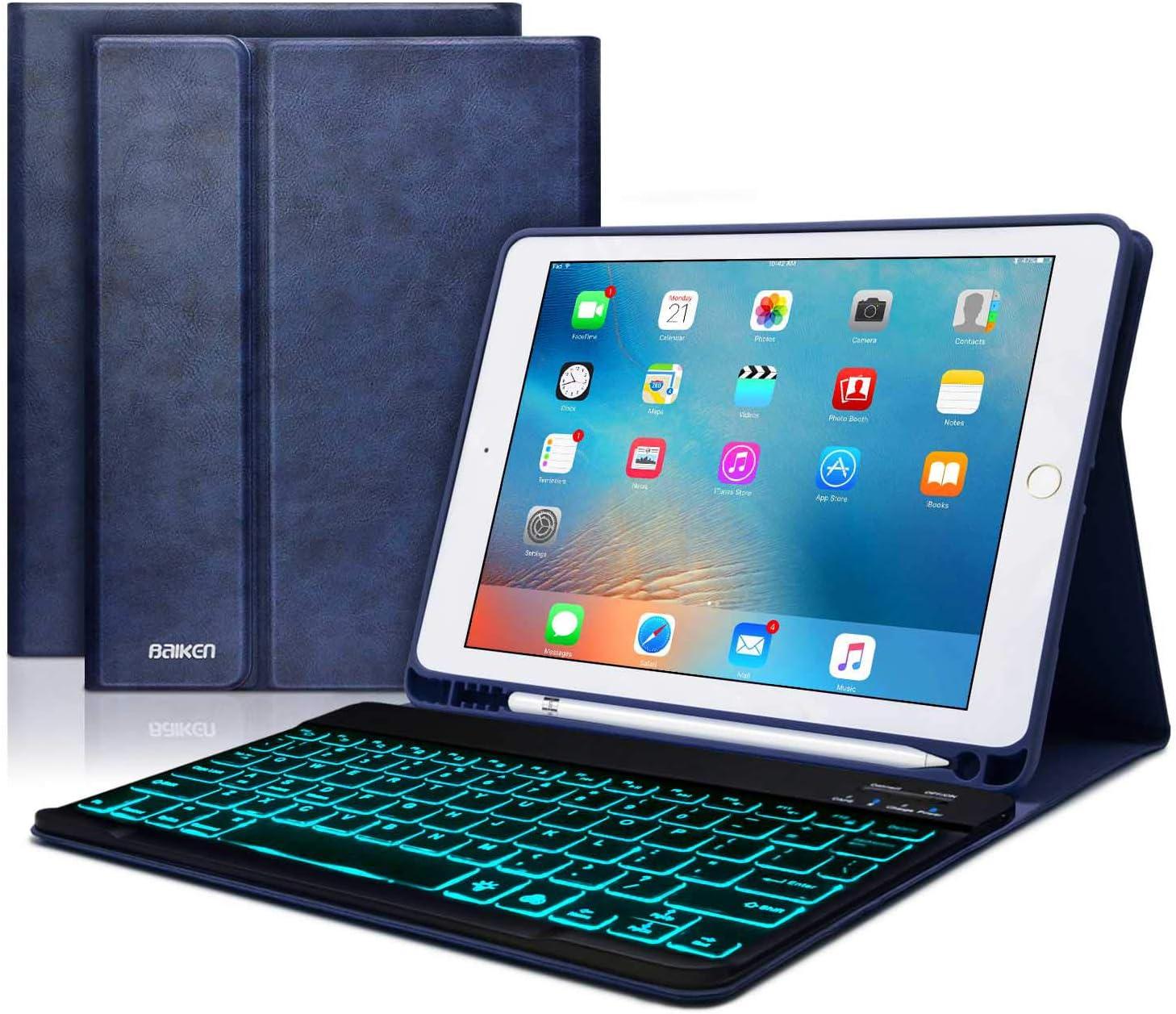 iPad 9.7 Keyboard Case for iPad 6th Gen 2018 -iPad 9.7 2017 -iPad Pro 9.7 -iPad Air 2&1 -iPad Case with Backlit Keyboard and Pencil Holder-Bluetooth Removable Keyboard