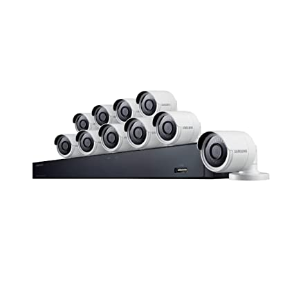 Samsung Wisenet SDH-C85100BF 16 Channel 4MP Super HD DVR Video Security  System with 2TB Hard Drive and 10 4MP Weather Resistant Bullet Cameras