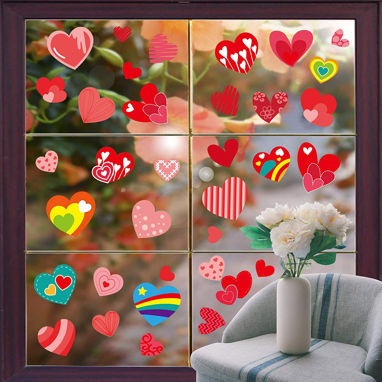 Anniversary Hearts Shape Glass Decals Cupid Static Window Decals Removable Vinyl Window Clings for Home Chutoral 14 Sheets Valentines Day Window Stickers Set Wedding Office,Valentines Party