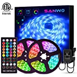 LED Strip Lights with Remote - 32.8ft RGB LED Light Strip Music Sync for Room Lighting, 12V SMD 5050 Color Changing Tape…
