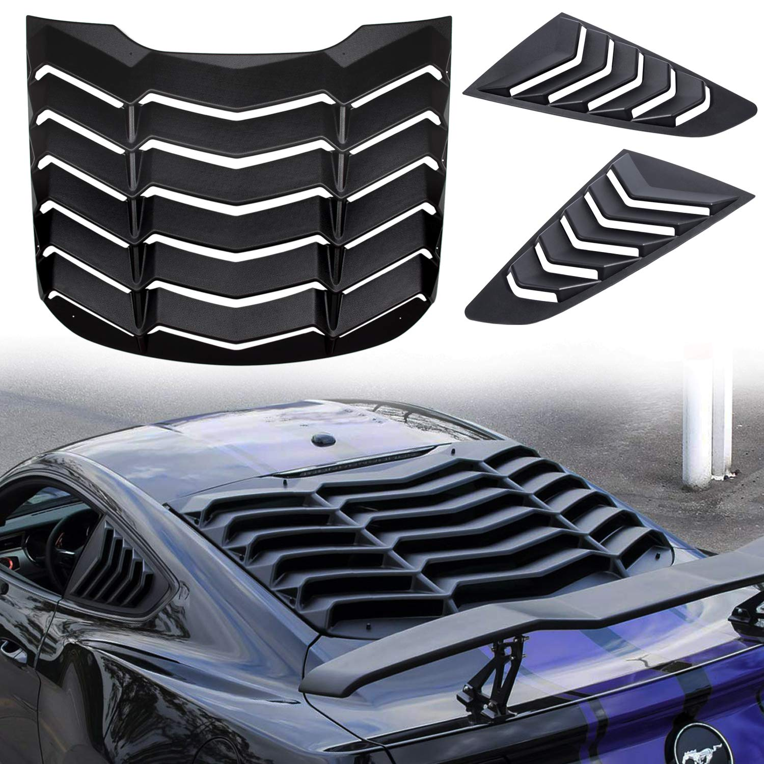 Matte Black Rear and Side Window Louvers Sun Shade Cover in GT Lambo Style For Ford Mustang 2015-2018