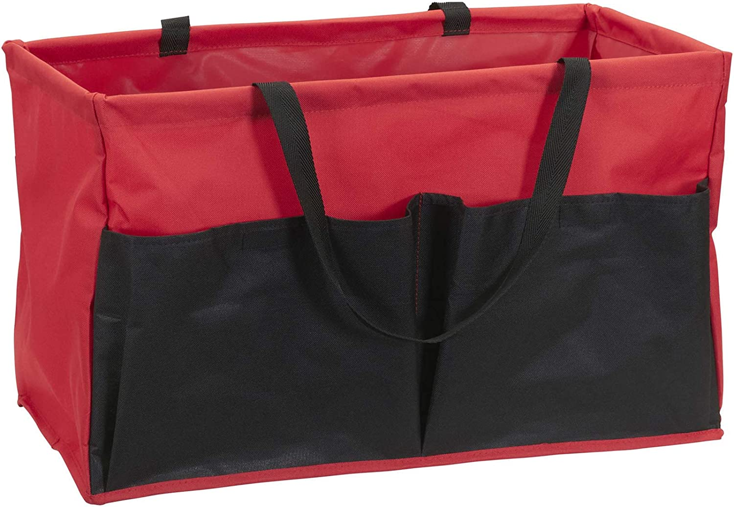 Household Essentials Red Krush Canvas Utility Tote with Pockets | Reusable Grocery Bag Black
