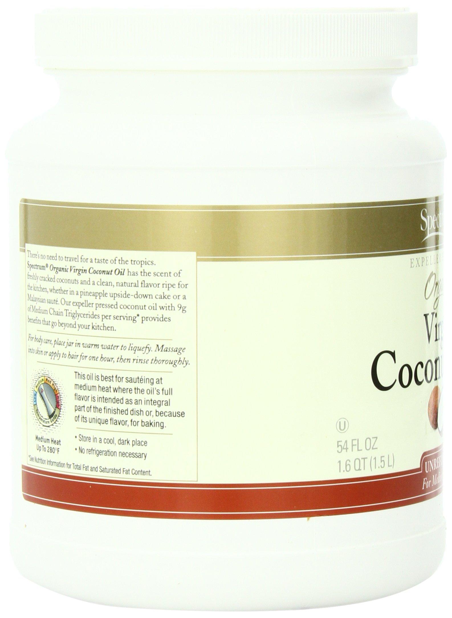 Spectrum Organic Coconut Oil for Cooking, Virgin, Unrefined, 54 fl. oz. by Spectrum (Image #4)