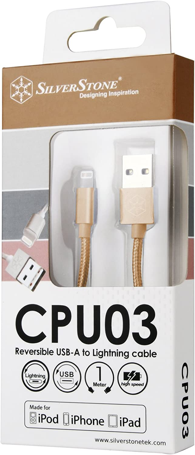 1.0 m High Speed Charge and Data Sync Reversible Apple Certified USB High Speed Charge and Data Sync Lightning Cable Silverstone SST-CPU03G Nylon Braided Extremely Durable Cable Gold