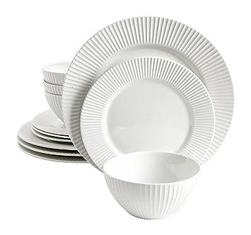 Trish Richman 12 Piece Seersucker Dinnerware Set (4 Large Plates 4 Medium Plates and  sc 1 st  Amazon.com & Amazon.com | Trish Richman 12 Piece Seersucker Dinnerware Set (4 ...