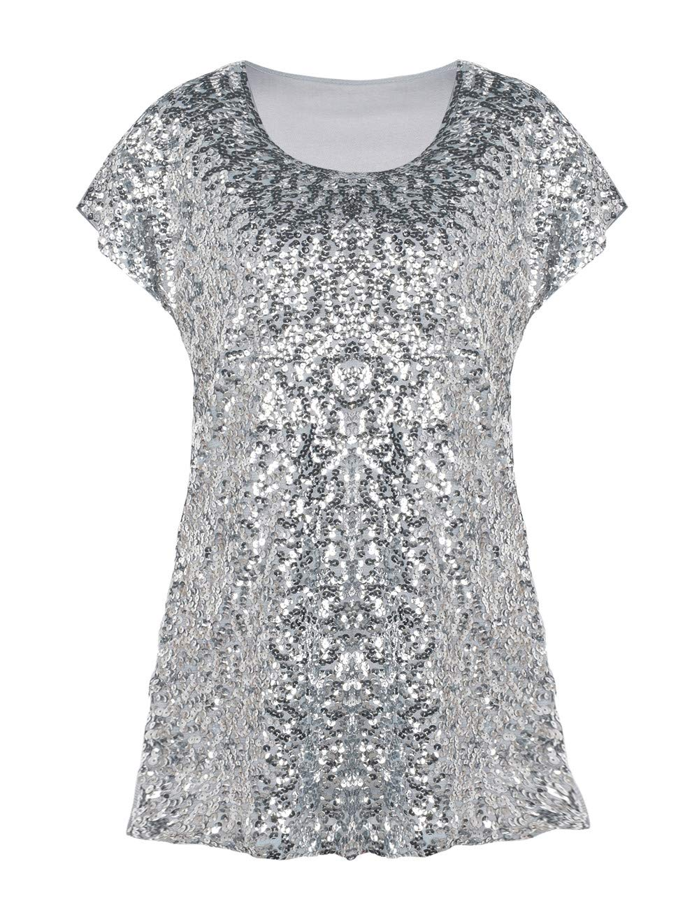PrettyGuide Women's Sequin Blouse Loose Fit Flashy Party Tops Dolman Sleeve Silver XXL/US22 by PrettyGuide
