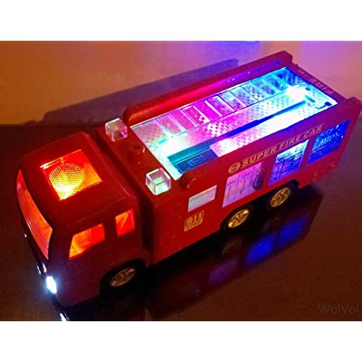WolVol Electric Fire Truck Toy with Stunning 3D Lights and Sirens, goes Around and Changes Directions on Contact - Great Gift Toys for Kids: Toys & Games