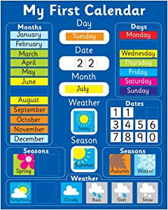 "Magnetic My First Learning Calendar - Blue Rigid board 16"" x 13"" (40 x 32cm) with hanging loop (Designed in the UK & Top seller on Amazon UK)"