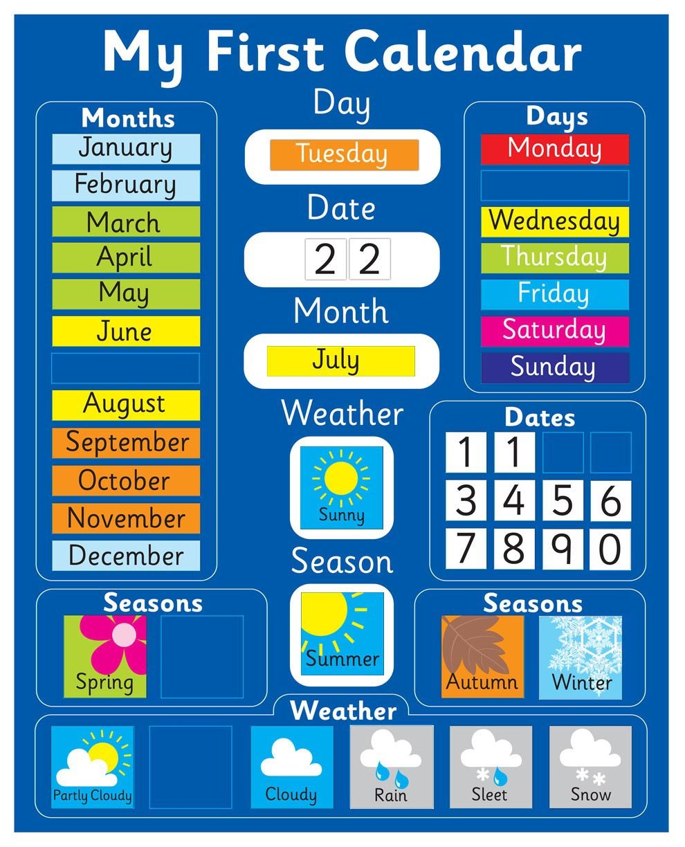 Magnetic My First Learning Calendar - Blue Rigid board 16 x 13 (40 x 32cm) with hanging loop (Designed in the UK & Top seller on Amazon UK) Indigo Worldwide