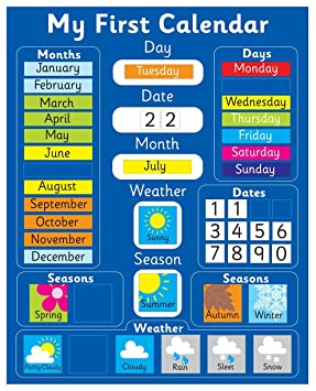 my first magnetic calendar blue also available in pink rigid