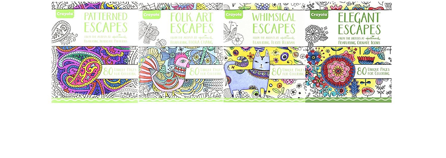 Crayola Escapes, Adult Coloring Book, Relaxing Art Activity, Perforated Pages Great For Framing & Fine Line Markers (4 Book Set) by Crayola