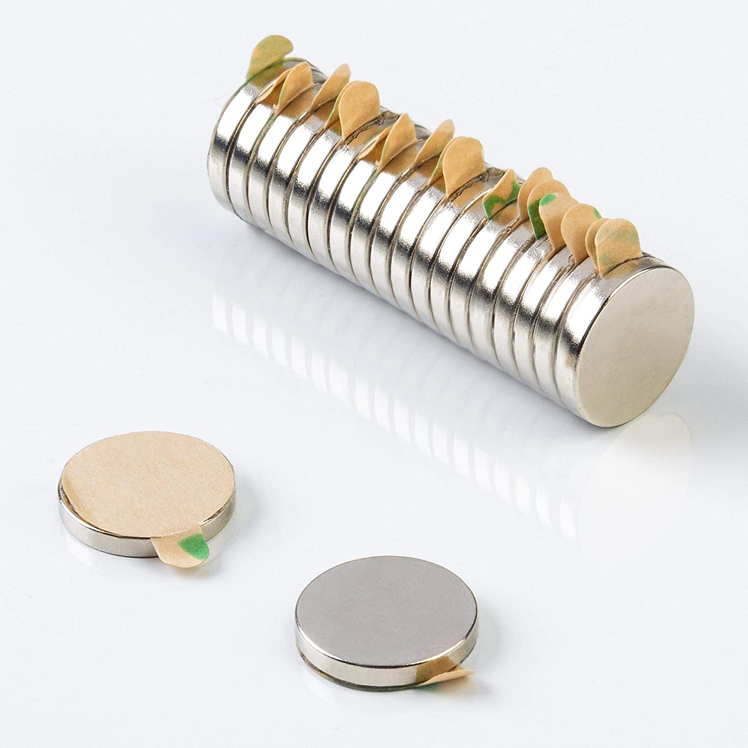 disc magnets 21010105 10x1.5mm NiCuNi coating round self-adhesive stick-on magnets ECENCE Neodymium magnets 20