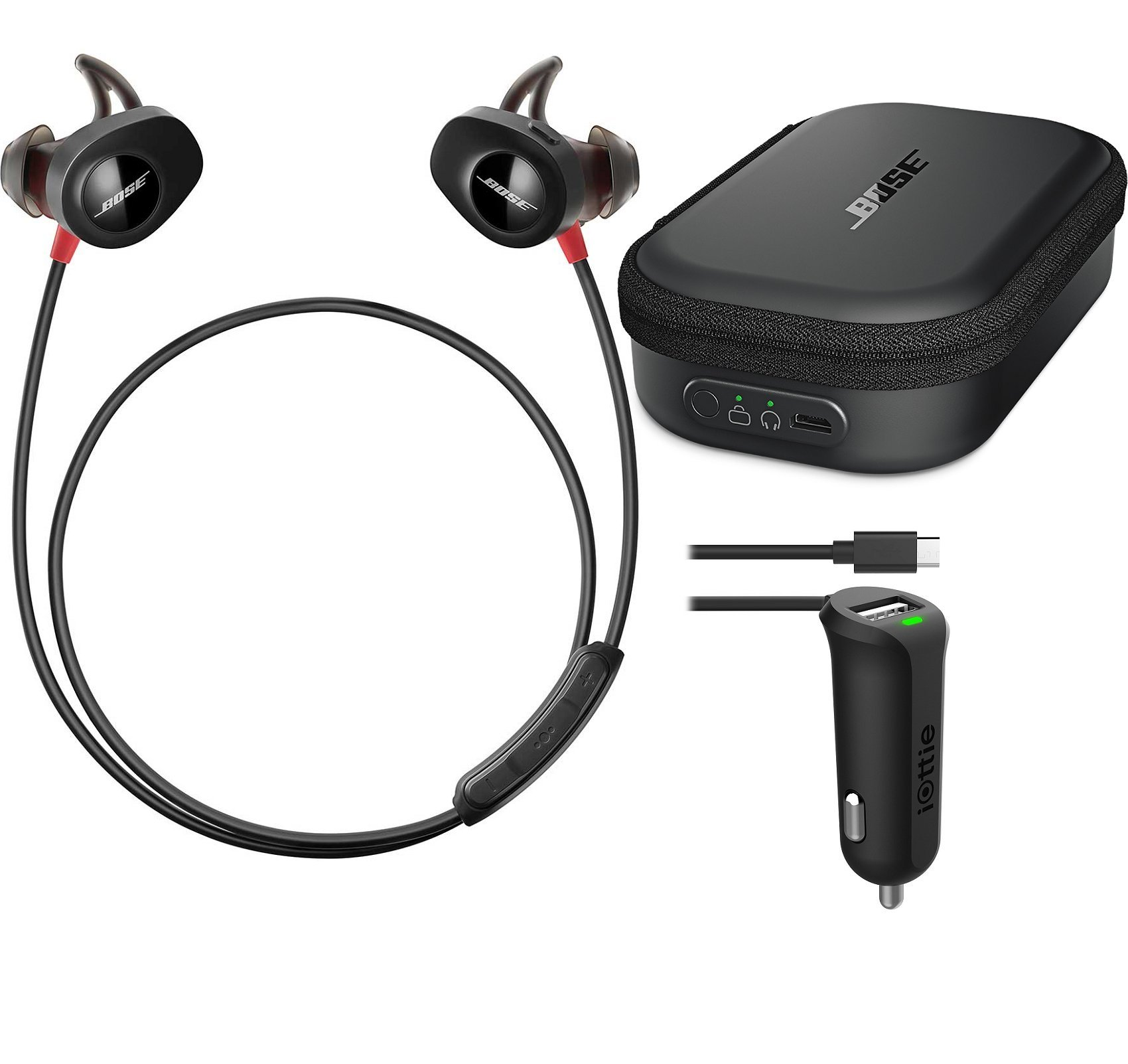 Bose SoundSport Pulse Sport Heart Rate Bluetooth Wireless In-Ear Headphone Bundle with Bose Charging Case & iOttie RapidVolt Micro USB Car Charger