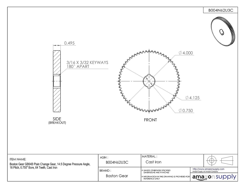Inch 16 Pitch 64 Teeth Boston Gear YB64A Spur Gear Steel 0.750 Face Width 4.125 OD 0.750 Bore
