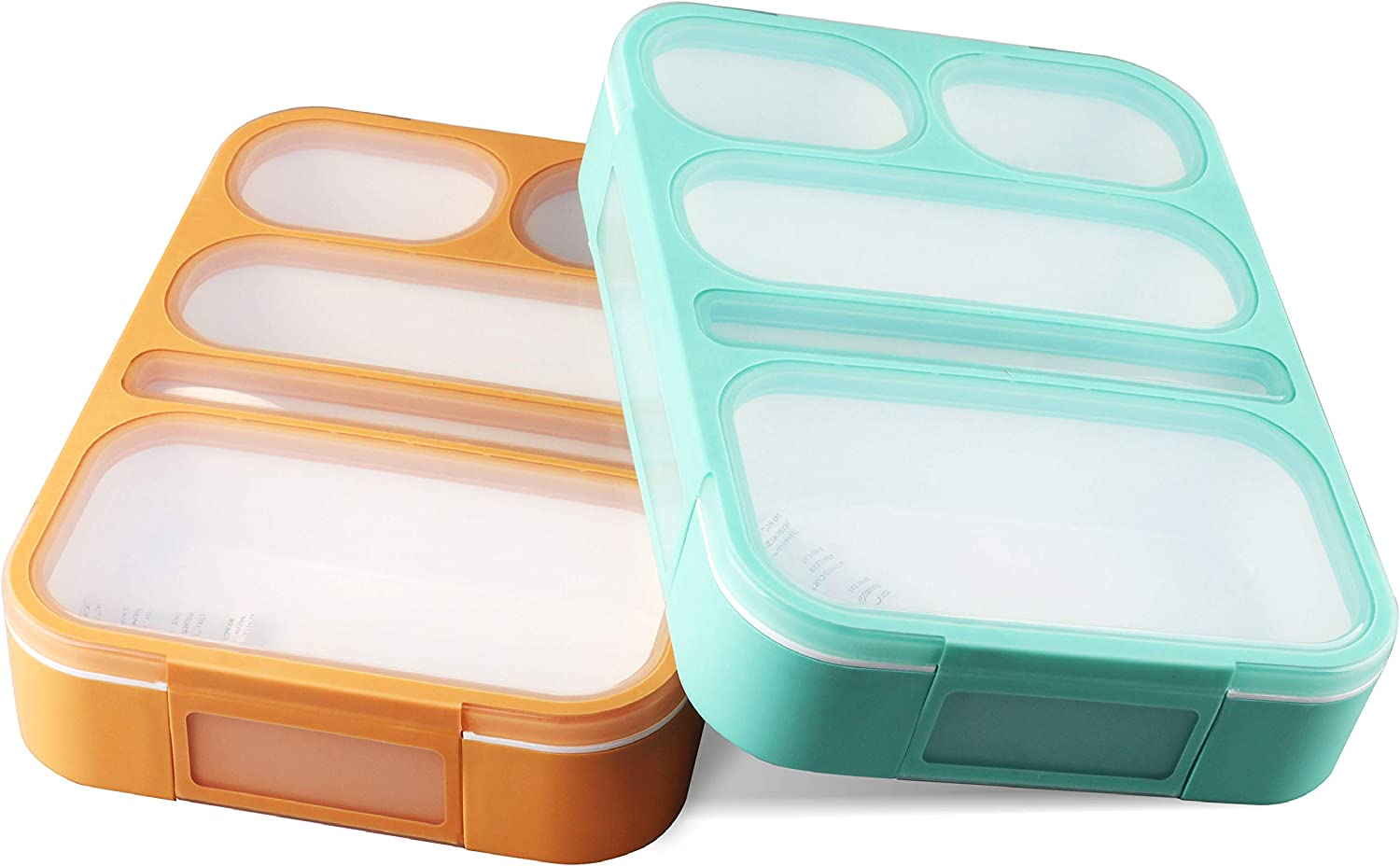 Amazon Com Bento Lunch Box Container For Kids And Adults 2 Leakproof Food Meal Prep Storage With 5 Compartments Cutlery Perfect For Healthy Food Snacks Bpa Microwave Dishwasher Safe