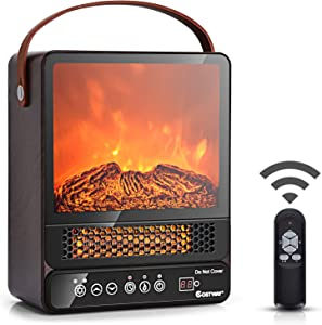 COSTWAY Portable Electric Fireplace, 750W/1500W Mini Electric Heater with 50? to 90?, 12H Timer, Remote Control, 4 Flame Brightness, Tabletop Fireplace Heater for Home Office Indoor Use, Walnut