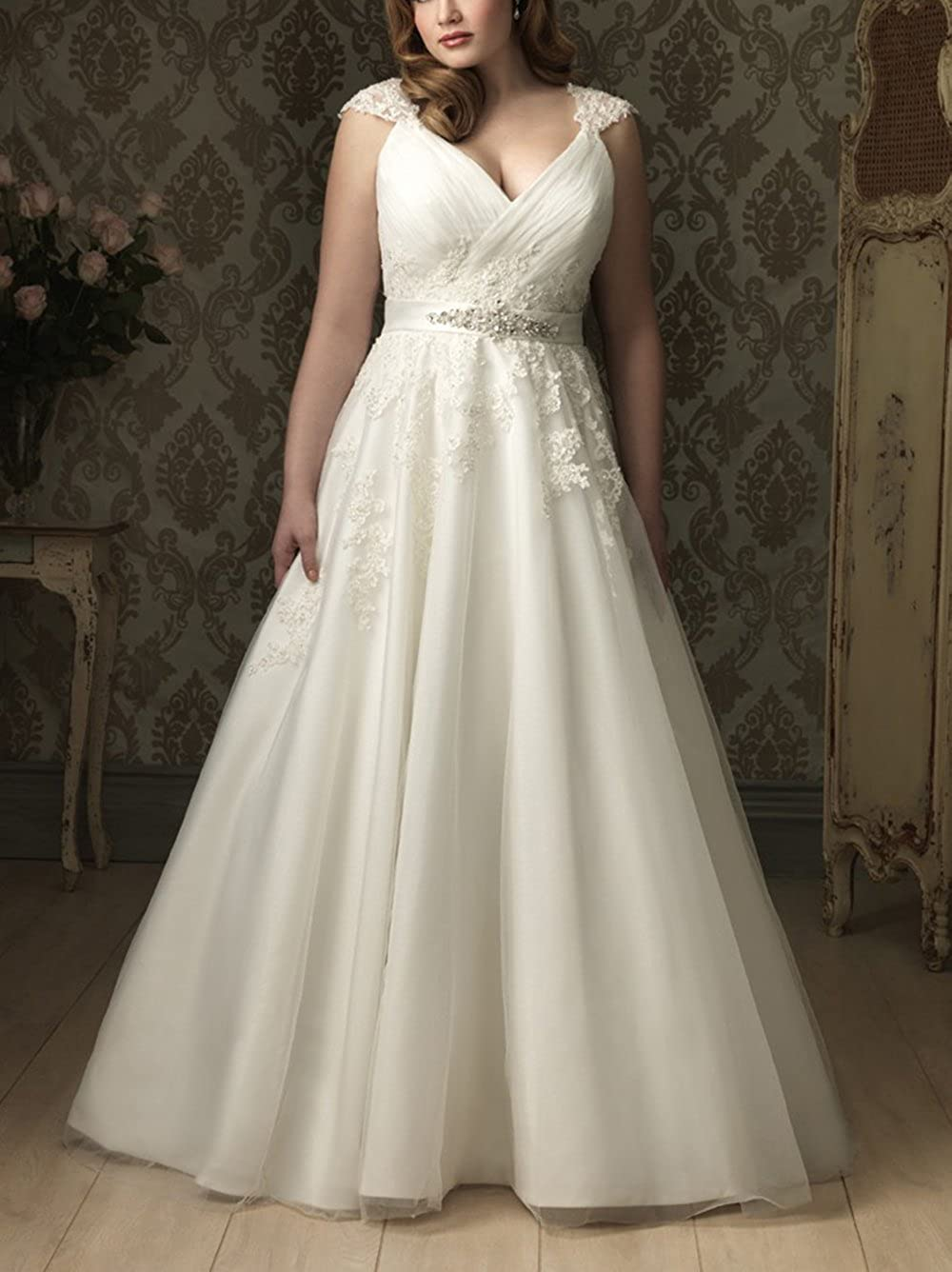DreHouse Womens A Line V Neck Cap Sleeves Wedding Dresses Plus Size