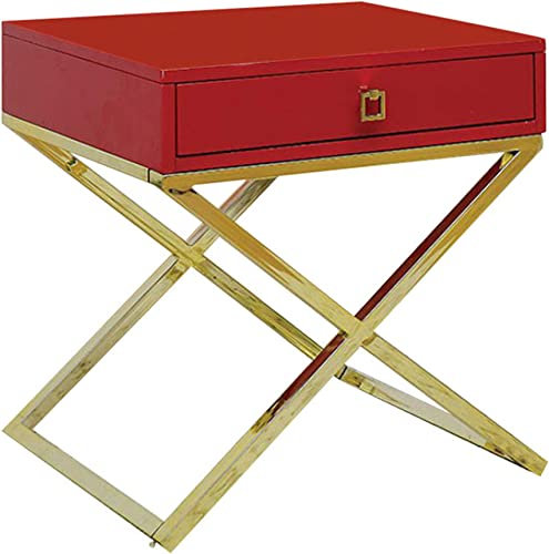 Furniture of America Rhona Side Table, Red
