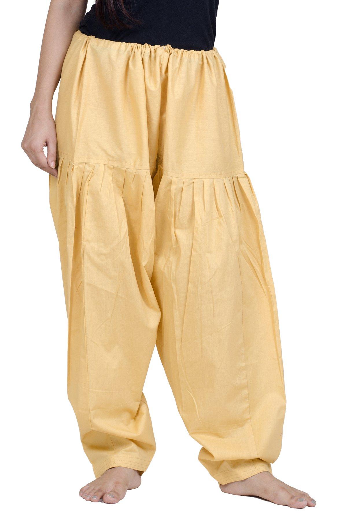 Chandrakala Women's Beige Pure Cotton Plain Semi Patiala Dhoti Salwar Indian Pants(P107BEI3)