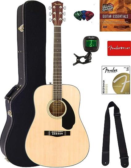 Fender CD-60 Dreadnought Guitarra Acústica Paquete con funda ...