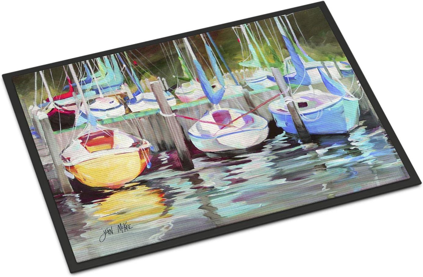 Carolines Treasures Sailboats at The Fairhope Yacht Club Floor Mat 19 x 27 Multicolor