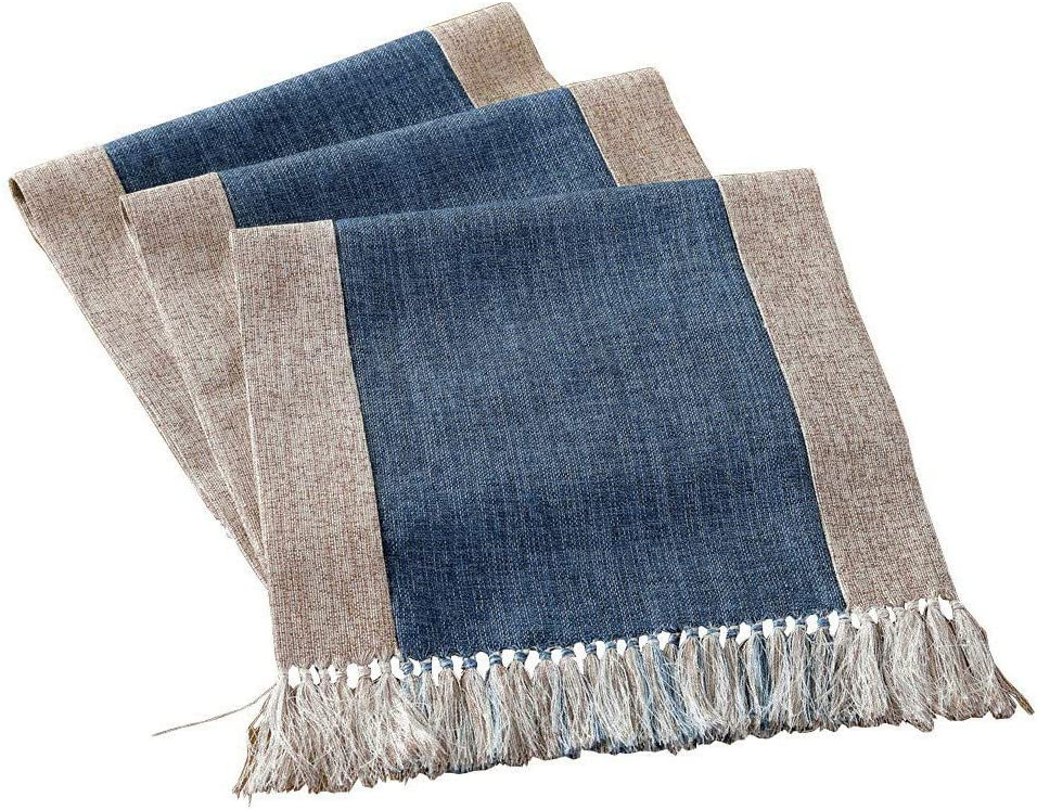 Wedding Table Runners with Fringes Parties Rustic Bridal Shower Decor Dining Table Runners 14x90 Blue White Native Fab Pure Cotton Table Runner Farmhouse 90 Inches Long
