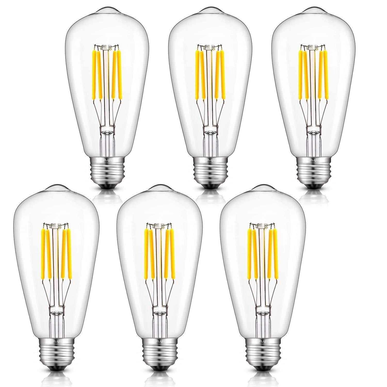 CRLight 4W Dimmable LED Filament Bulb 40W Equivalent Daylight (Neutral White)4000K Glow, E26 Medium Base ST64 Vintage Edison Light Bulbs, 360 Degrees Beam Angle, Pack of 6