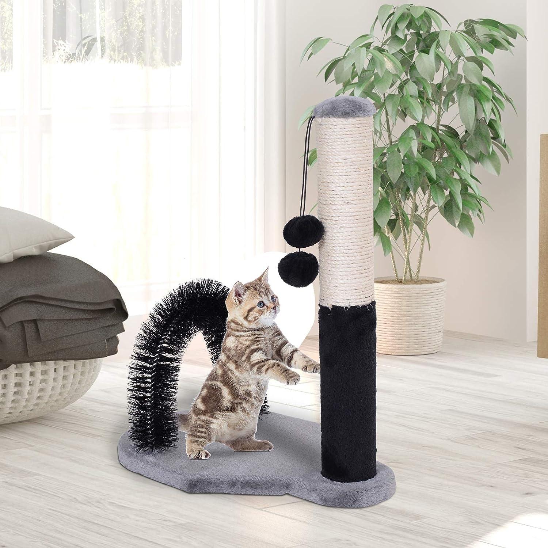 Pawhut Columna de Arañazo de Gatos Marco de Escalada de Gato Columna Juguete de Rascado de Gatos con 2 Bolas Pompón de Felpa y Sisal 48x30x52cm