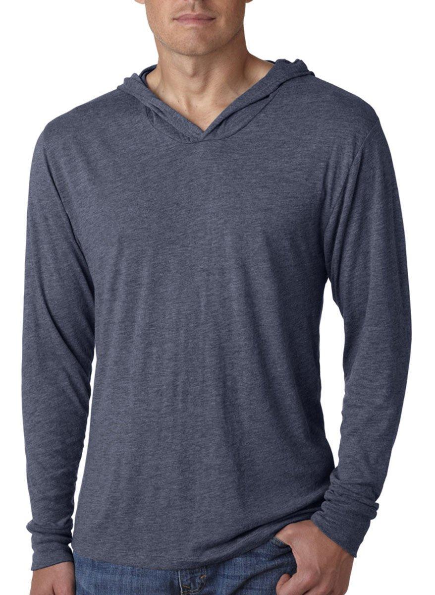 Next Level Apparel Tri-Blend Extreme Soft Rib Knit Hoodie, INDIGO, Large