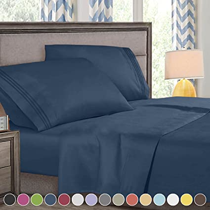 Delicieux King Size Bed Sheets Set Navy Blue, Highest Quality Bedding Sheets Set On  Amazon,