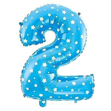 Cotigo– Globo Número 2 de Foil Color Azul con Estrella para Fiestas de Cumpleaños 40cm de Alto