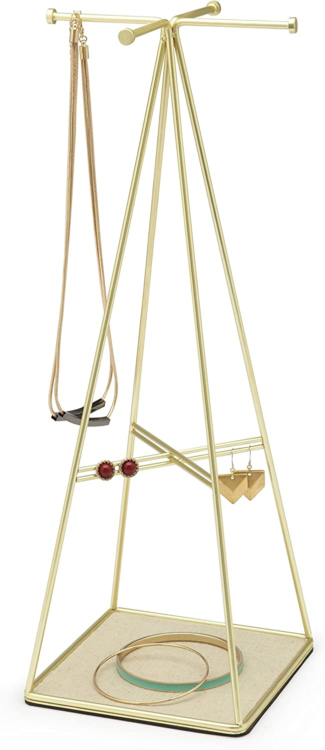 Umbra Prisma Jewelry Stand and Necklace Holder, Brass: Home & Kitchen