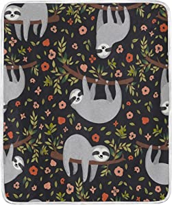 WOZO Home Decor Animal Sloth Floral Print Blanket Soft Warm Blankets for Bed Couch Sofa Lightweight Travelling Camping 60 x 50 Inch Throw Size for Kids Boys Women