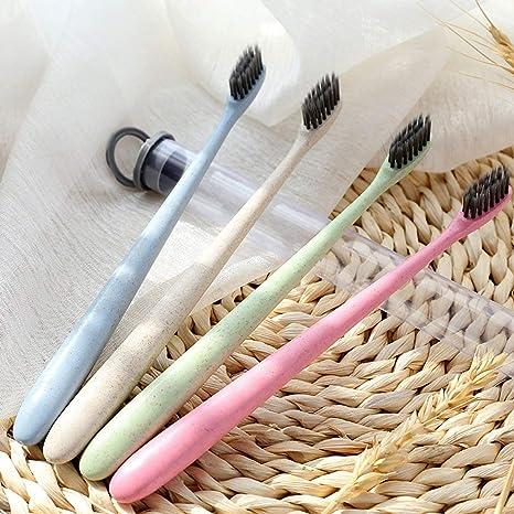 Paja de trigo Más ecológico cepillo de dientes portátil fino y cepillo de dientes suave cepillado