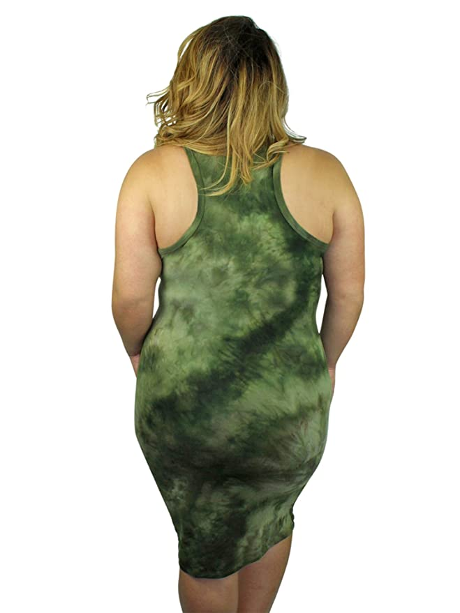 da96a900b7e Luxury Divas Green Tie-Dye Racerback Plus Size Dress at Amazon Women s  Clothing store