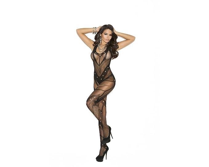 15a49b85e8f Amazon.com  Elegant Moments Crochet Net Bodystocking - Black - One ...