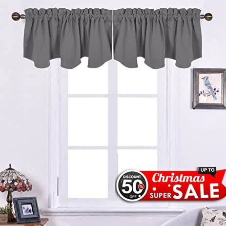 NICETOWN Window Scalloped Valance For Kitchen   52 Inch By 18 Inch Rod  Pocket