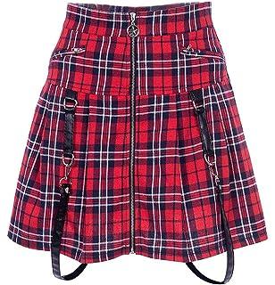 33bd67644 Women's High Waist Punk Rock Zip Up Gothic Pleated Skirt Red Plaid Solid  Black Mini Skirt