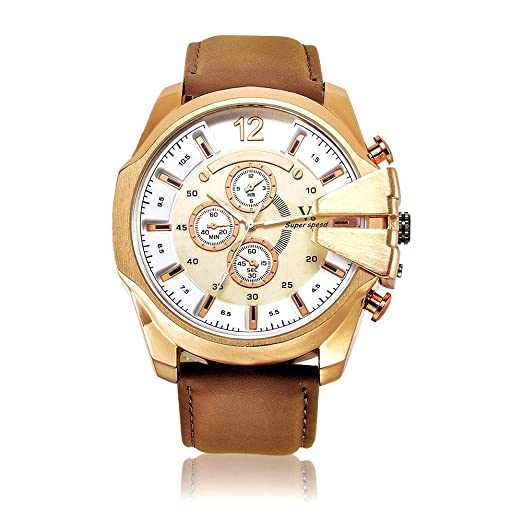 Hombre Big Face Relojes oro Color Marrón analógico de cuarzo reloj de lujo gran Dial de acero inoxidable 50 mm: Amazon.es: Relojes